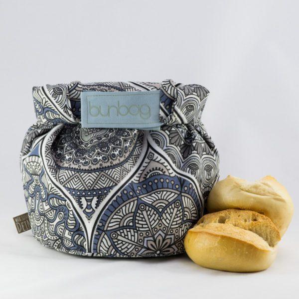 bunbag,bunbag-Mandala grau,Brotkorb,Brotbeutel,Brötchentasche